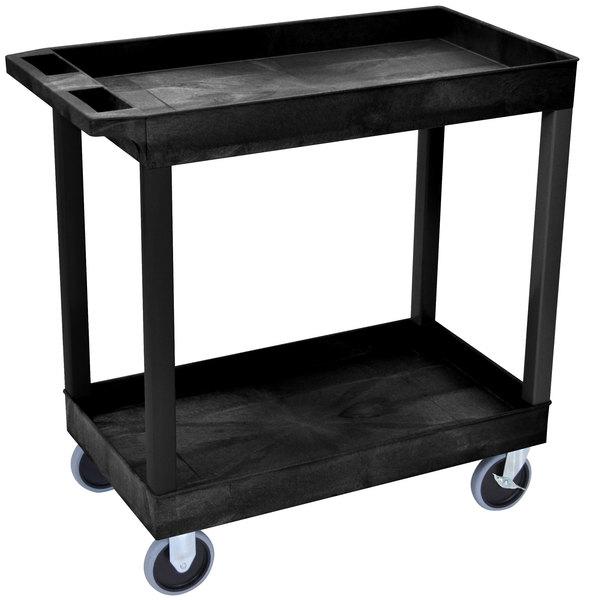"Luxor EC11HD-B Black Two Tub Shelf Utility Cart - 18"" x 35 1/4"" x 35 1/4"""