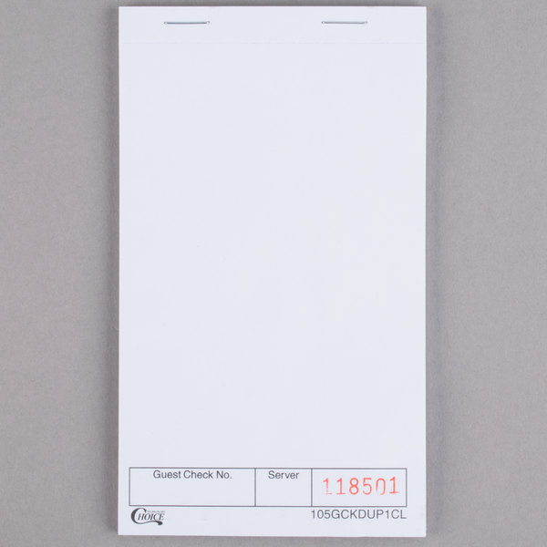 Choice 1 Part White Blank Guest Check - 10/Pack