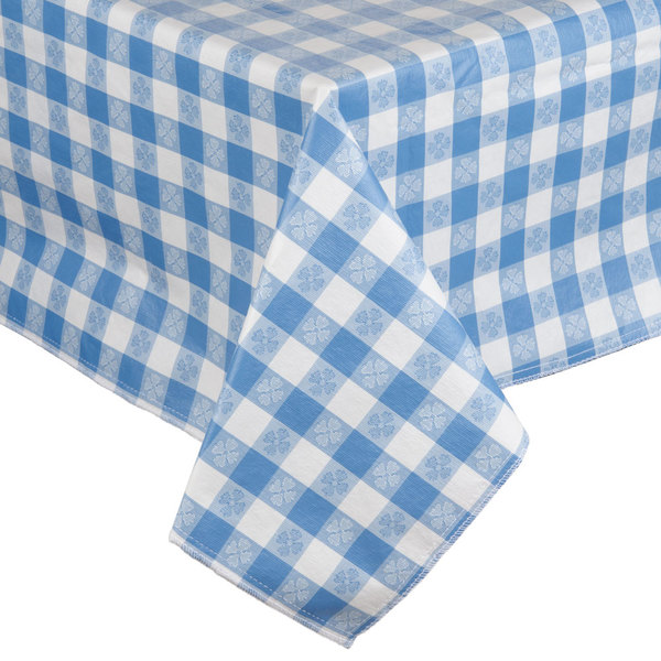 "52"" x 72"" Blue Checkered Vinyl Table Cover with Flannel Back"