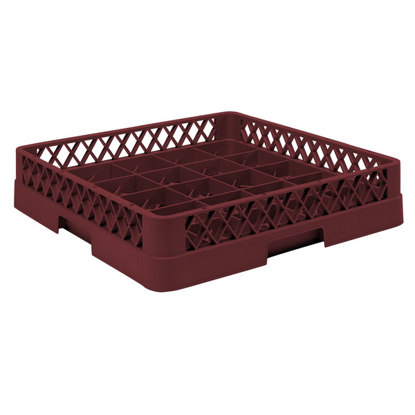 "Vollrath TR16B Traex® Full-Size Burgundy 25-Compartment 4 13/16"" Cup Rack"