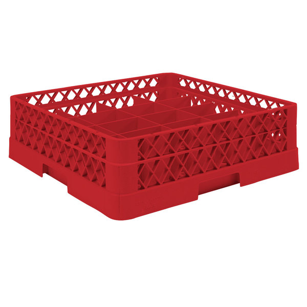 "Vollrath TR5A Traex® Full-Size Red 20-Compartment 4 13/16"" Cup Rack with Open Rack Extender On Top"