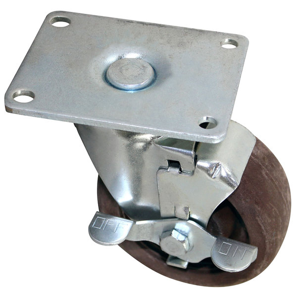 "All Points 26-3375 4"" High Temperature Swivel Plate Caster with Brake - 375 lb. Capacity"