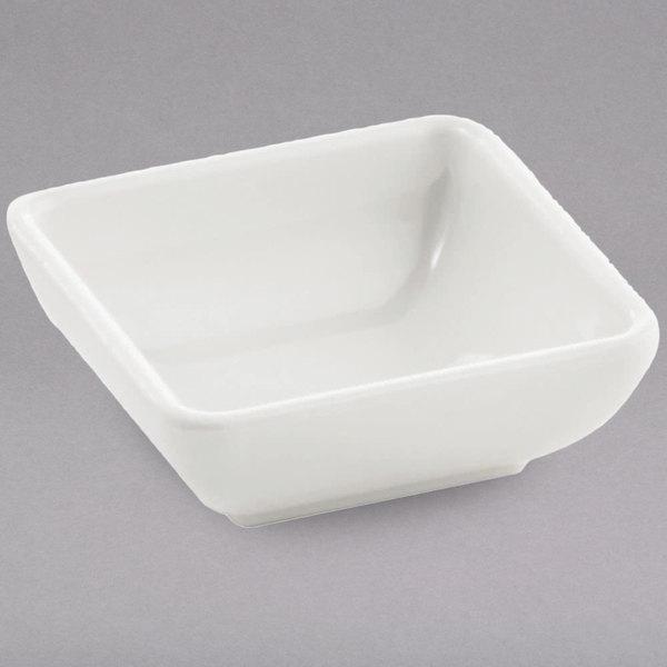 Tablecraft MB21 Frostone 2 oz. White Square Melamine Sauce Bowl