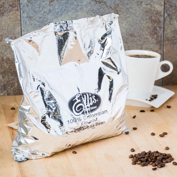 Ellis Colombian Whole Bean Decaf Coffee, 32 oz. Bag - 10/Case