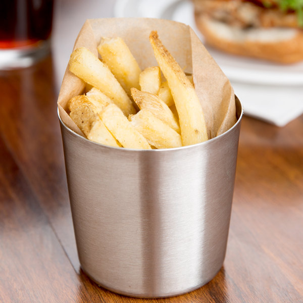 "Tablecraft AC885S 3 3/8"" Brushed Stainless Steel French Fry Cup"