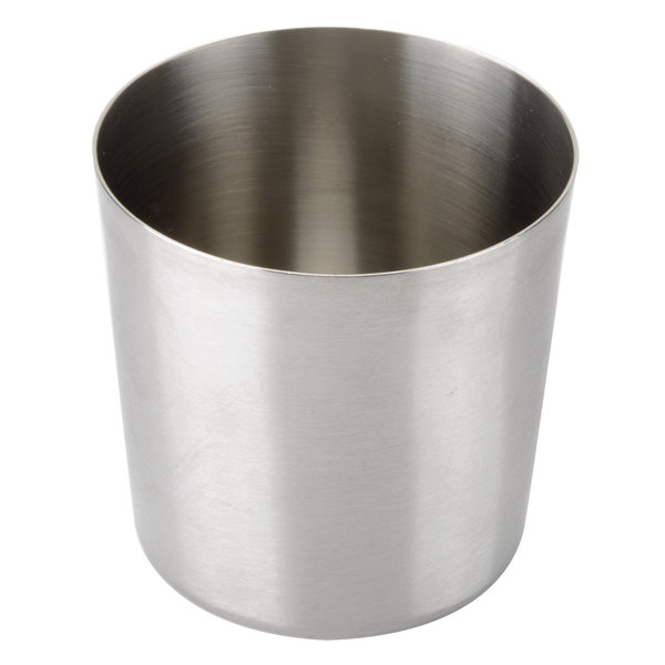 Tablecraft AC885S 3 3/8 inch Brushed Stainless Steel French Fry Cup