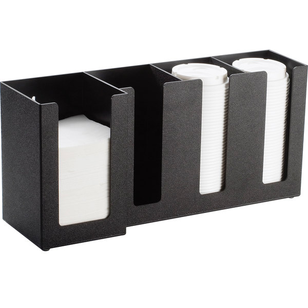 "Cal-Mil 376-13 4 Section Black Cup / Lid / Napkin Organizer - 17 1/2"" x 5"" x 8"""