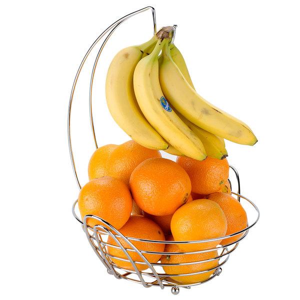 "Tablecraft 12RR Meranda Chrome Plated Metal Round Fruit / Banana Combo Basket - 13 3/4"" x 13"" x 16 1/2"""