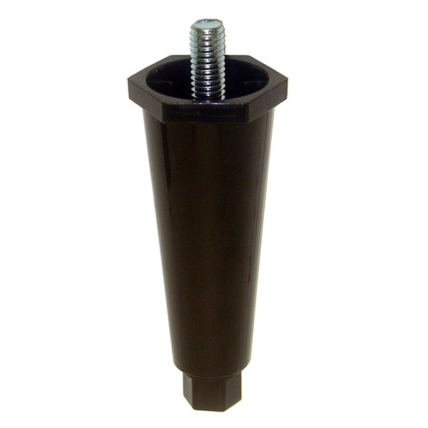 """Kason 61740000257 Black Plastic 4"""" Adjustable Equipment Leg; Hex Foot; 3/8""""-16 Stud Mount"""