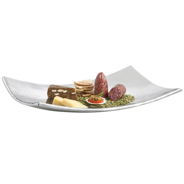 "Tablecraft R2013 Remington Collection Rectangular Double Wall Stainless Steel Tray - 19 1/4"" x 13"" x 2 1/2"""