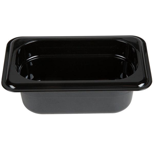 Carlisle 3088603 StorPlus 1/9 Size Black High Heat Food Pan - 2 1/2 inch Deep