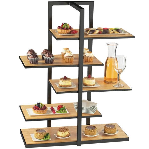 "Cal-Mil 3303-60 Bamboo Black Multi-Level Shelf Display - 28 1/2"" x 13 1/2"" x 36 1/2"""