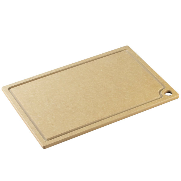 """Cal-Mil 3337-1520-14 20"""" x 15"""" x 1/2"""" Natural Resin Grooved Cutting Board"""
