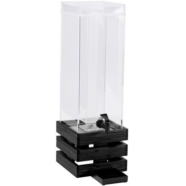 """Cal-Mil 3301-3-96 Midnight Bamboo 3 Gallon Crate Beverage Dispenser with Ice Chamber - 8"""" x 8"""" x 25 1/2"""" Main Image 1"""