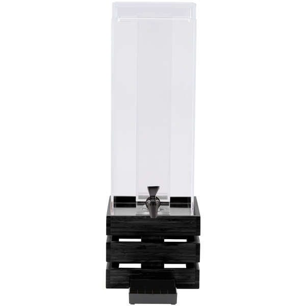 """Cal-Mil 3301-3-96 Midnight Bamboo 3 Gallon Crate Beverage Dispenser with Ice Chamber - 8"""" x 8"""" x 25 1/2"""""""