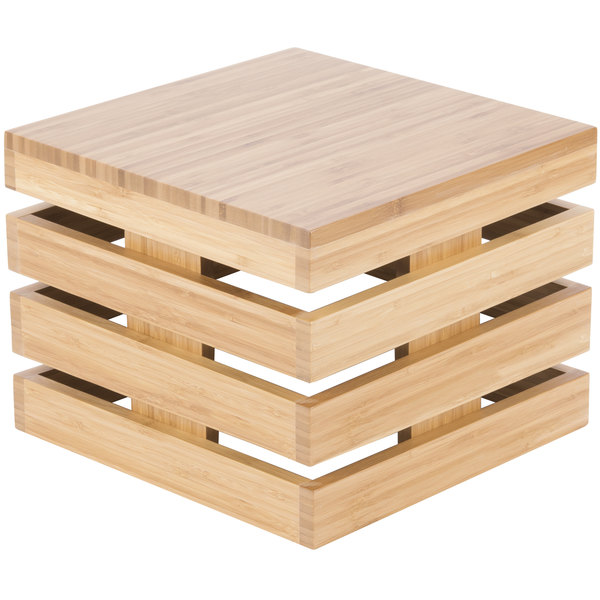 "Cal-Mil 3332-10-60 Bamboo Square Crate Riser - 12"" x 12"" x 10"""
