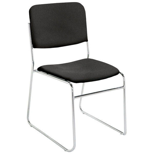 National Public Seating 8660 Ebony Black Stackable Signature Padded Chair with Chrome Frame