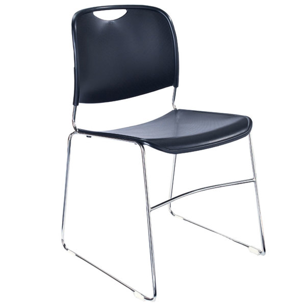 National Public Seating 8505 Navy Blue Stackable Ultra Compact Plastic Chair with Chrome Frame