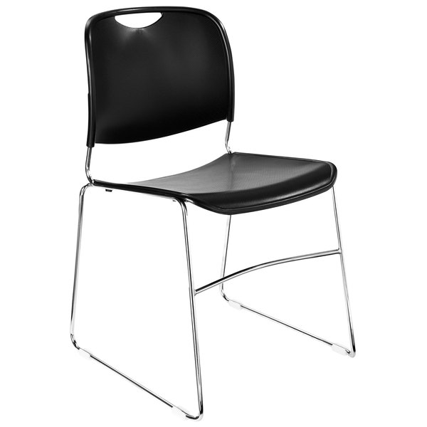 National Public Seating 8510 Black Stackable Ultra Compact Plastic Chair with Chrome Frame Main Image 1