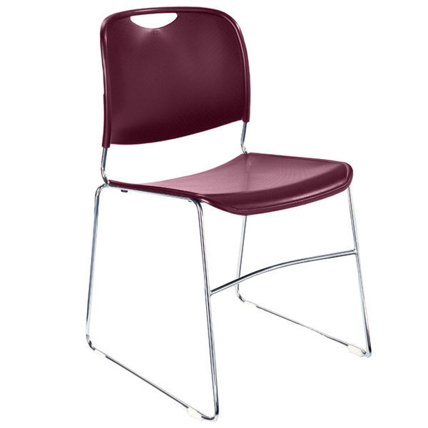National Public Seating 8508 Wine Red Stackable Ultra Compact Plastic Chair with Chrome Frame