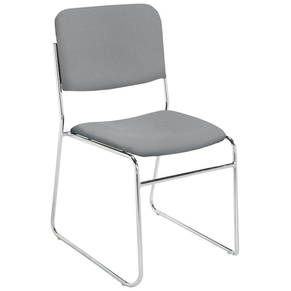 National Public Seating 8652 Classic Gray Stackable Signature Padded Chair with Chrome Frame