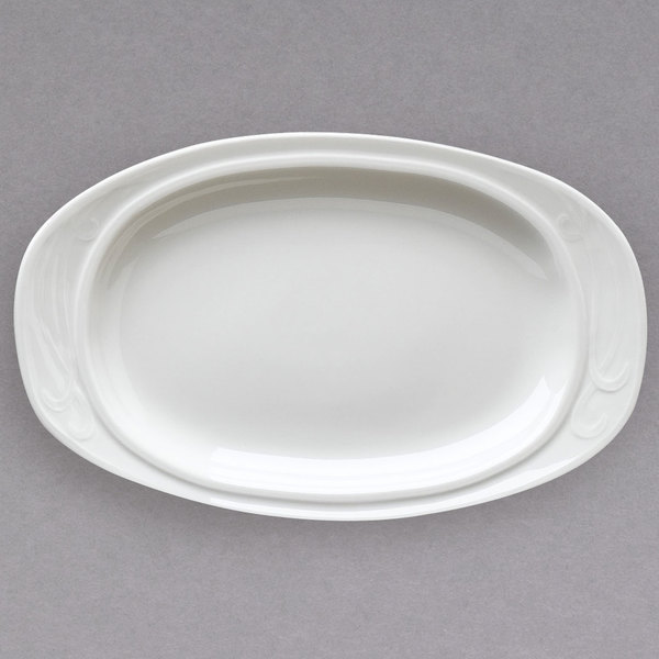 "Homer Laughlin 6171000 10 3/4"" Ivory (American White) Oval China Platter - 24/Case"