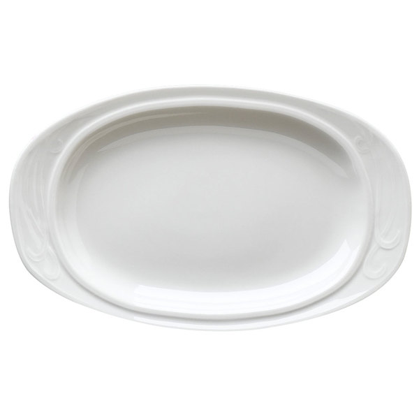 "Homer Laughlin 6171000 Lyrica 10 3/4"" Ivory (American White) Oval China Platter - 24/Case"