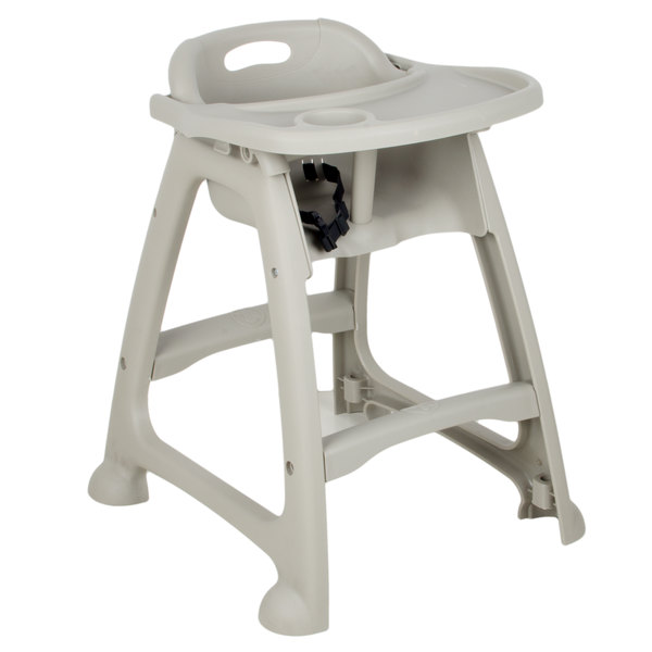 Lancaster Table & Seating Gray Polypropylene Stackable High Chair with Tray (Ready to Assemble, No Wheels)