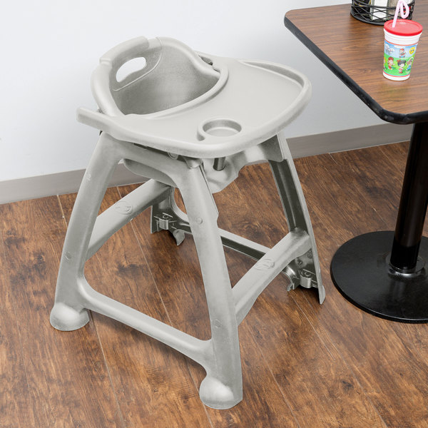 Lancaster Table U0026 Seating Ready To Assemble Gray Polypropylene Stackable  Restaurant High Chair With Tray (No Wheels)