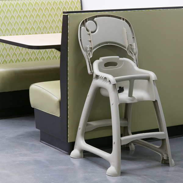 Lancaster Table & Seating Ready-To-Assemble Gray Polypropylene Stackable Restaurant High Chair with Tray (No Wheels) Main Image 5