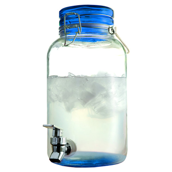 1 Gallon Style Setter Blue Round Mason Glass Beverage Dispenser