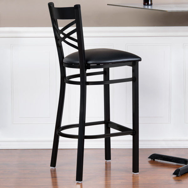 """Preassembled Lancaster Table & Seating Cross Back Bar Height Chair with 2 1/2"""" Padded Seat"""