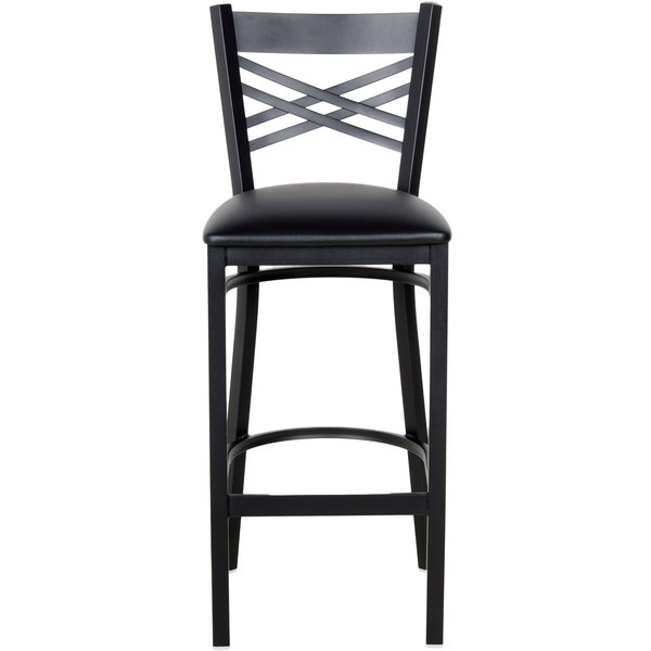 chair 1 2. the lancaster table \u0026 seating black cross back bar height chair with 2 1/2\u201d padded seat is perfect for any bar, restaurant, bistro, or coffee shop. 1