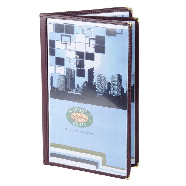 "8 1/2"" x 14"" Menu Solutions SE350D-BURG Quad Panel Booklet Menu Jacket with 8 Views - Burgundy"