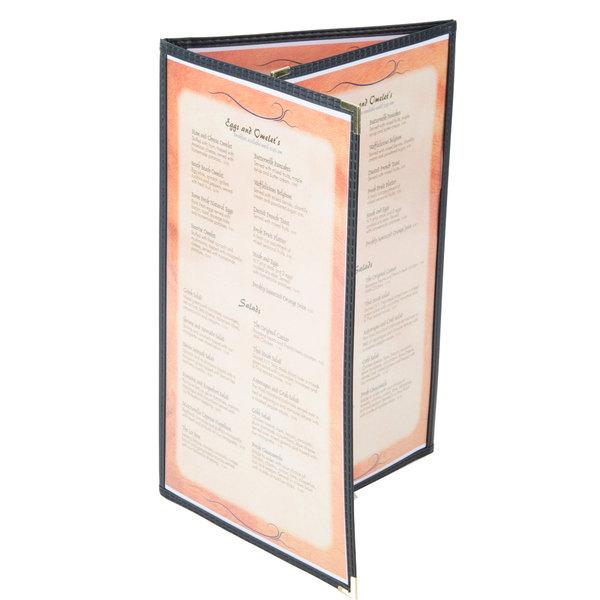 menu solutions se330d black 8 1 2 x 14 black triple panel folding