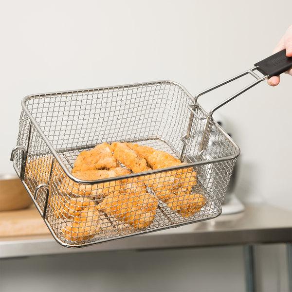 "Avantco FBASKET 9 1/2"" x 7 1/4"" x 4"" Fryer Basket with Front Hook Main Image 9"