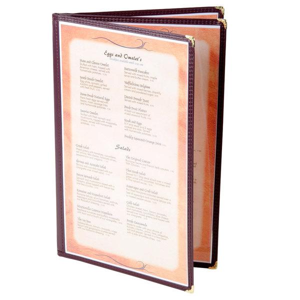 menu solutions se340d burg 8 1 2 x 14 burgundy triple panel