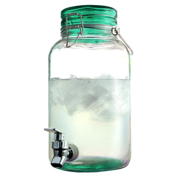 1 Gallon Style Setter Green Round Mason Glass Beverage Dispenser