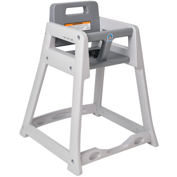 Koala Kare KB950-01-KD Gray Ready to Assemble Stackable Plastic High Chair Main Image 1
