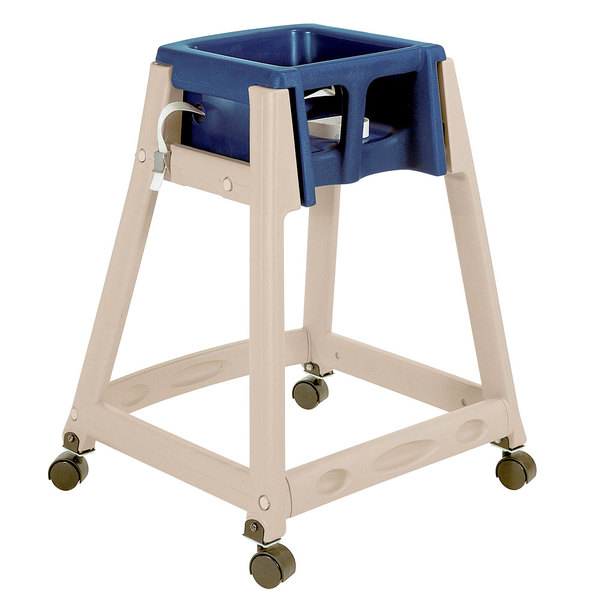 Koala Kare KB888-04W KidSitter Beige Assembled Convertible Plastic High Chair with Blue Seat and Casters