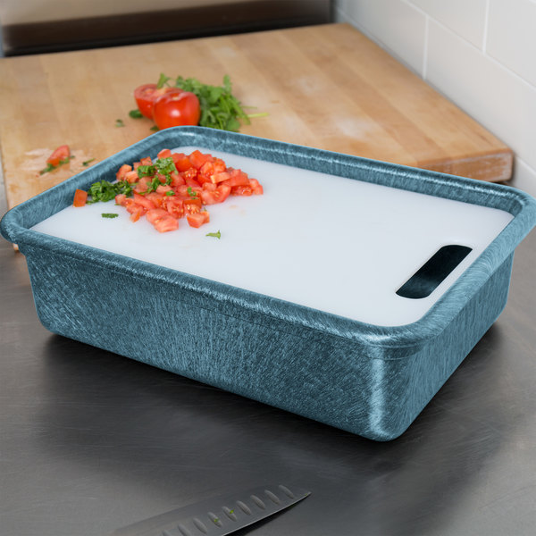 """HS Inc. HS1050C Prep n Serve 10 1/4"""" x 15 3/8"""" Blueberry Deep Tote and Cutting Board Set"""