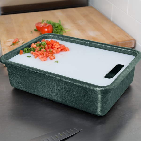 """HS Inc. HS1050C Prep n Serve 17 1/2"""" x 12 1/2"""" Jalapeno Deep Tote and Cutting Board Set Main Image 5"""