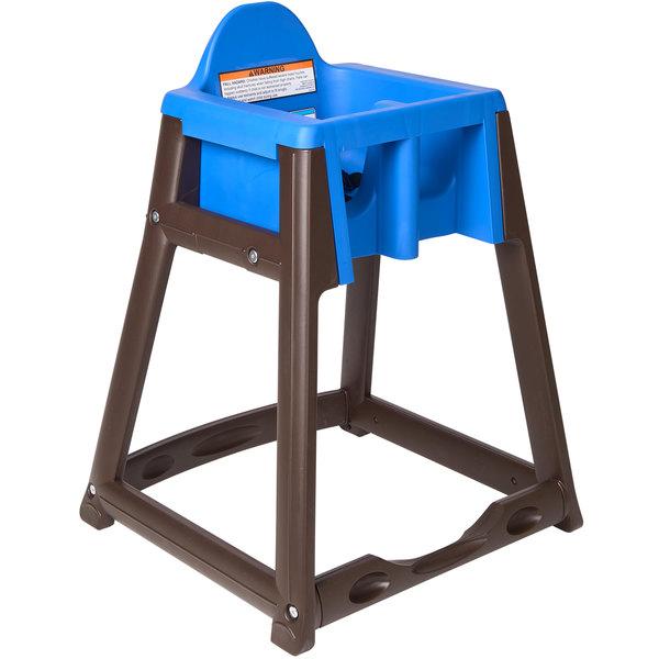 Koala Kare KB966-04 KidSitter Brown Assembled Convertible Plastic High Chair with Blue Seat Main Image 1
