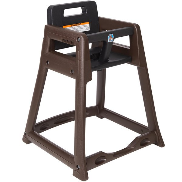 Koala Kare KB950-09-KD Brown Ready to Assemble Stackable Plastic High Chair