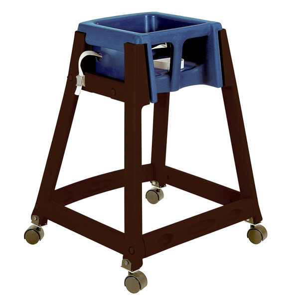 Koala Kare KB866-04W KidSitter Brown Assembled Convertible Plastic High Chair with Blue Seat and Casters