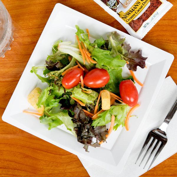 "WNA Comet MS75W 6 3/4"" White Square Milan Plastic Salad Plate - 168/Case"