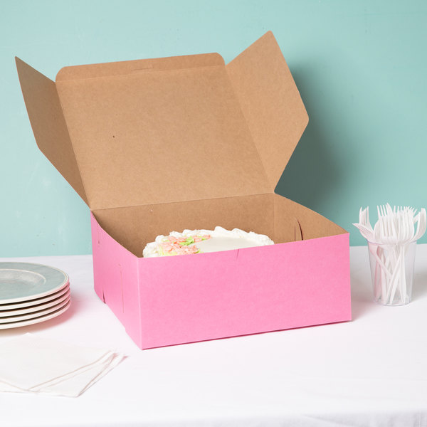 "12"" x 12"" x 5"" Pink Cake / Bakery Box - 100/Bundle"