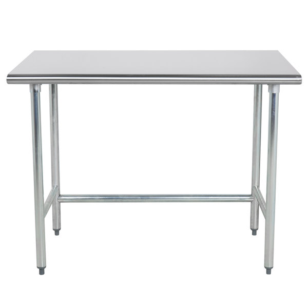 """Advance Tabco TGLG-244 24"""" x 48"""" 14 Gauge Open Base Stainless Steel Commercial Work Table"""