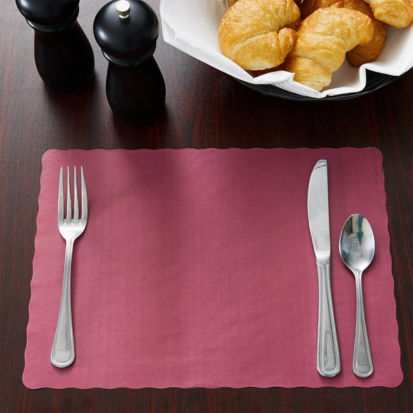 """10"""" x 14"""" Burgundy Colored Paper Placemat with Scalloped Edge - 1000/Case"""