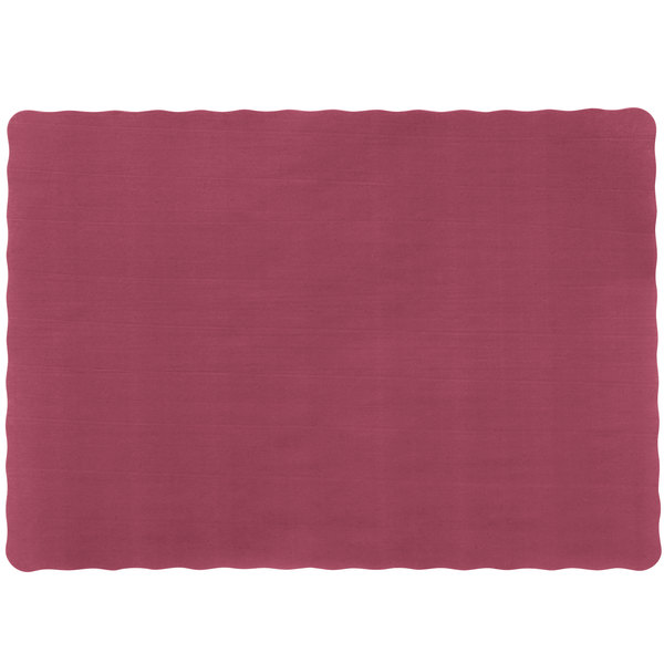 10 inch x 14 inch Burgundy Colored Paper Placemat with Scalloped Edge - 1000/Case